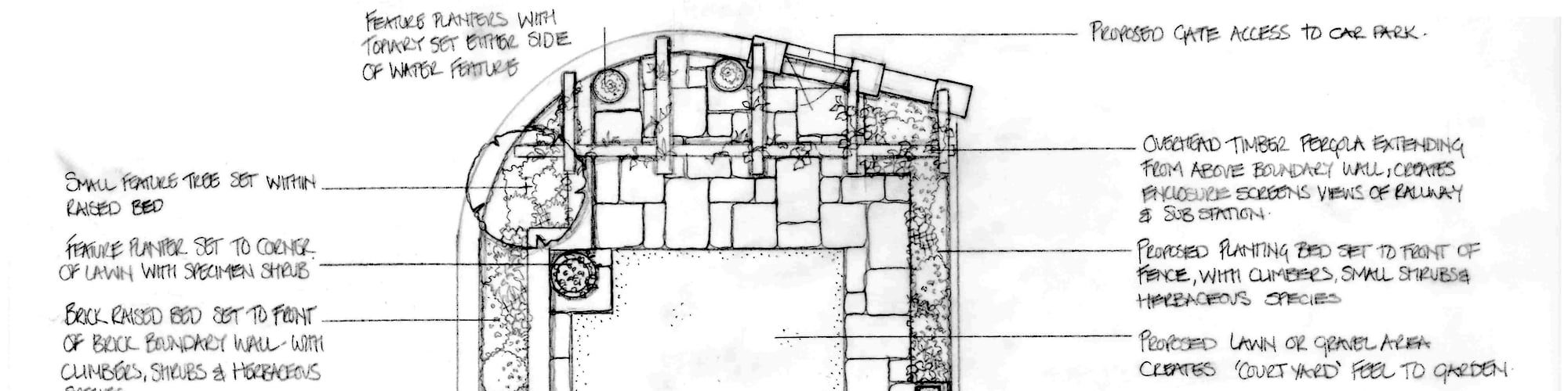 New Build Courtyard Case Study | Arcadia Garden Design Hand Drawing Header